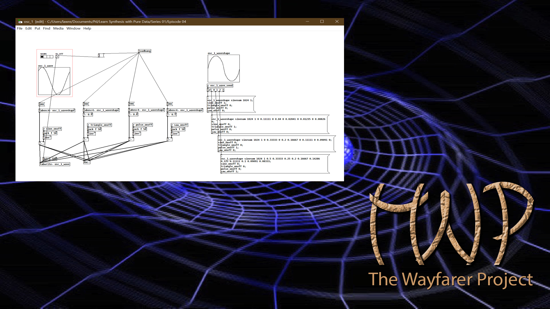 Learn Synthesis with Pure Data S01E04 Title Screen